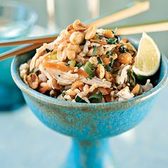 Sesame Brown Rice Salad with Shredded Chicken and Peanuts Recipe. Link takes you to 29 whole-grain salads