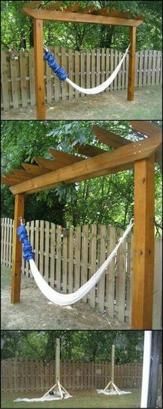 DIY Hammock Stand - if you don't have any trees in your yard, this is the solution. It's a great addition to your outdoor space, looking beautiful with its pergola roof. Diy Hammock, Backyard Hammock, Hammock Stand, Backyard Patio, Backyard Landscaping, Hammock Ideas, Hammocks, Hammock Cover, Hammock Posts