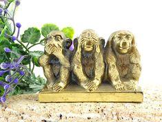 Three Wise Monkeys - Vintage Brass Monkeys - Three Monkeys - See no evil - Hear no evil - Speak no evil - Can't hear can't see can't speak