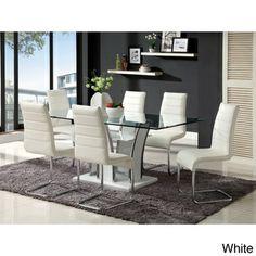 Ziana Contemporary 7-piece Rectangular Tempered Glass Table Dining Set | Overstock.com