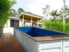 Using shipping container pool is making less effort to install a swimming pool. It is an extraordinary idea to create the pool in a shipping container design Swimming Pool Parts, Swiming Pool, Swimming Pool Designs, Shipping Container Pool Cost, Used Shipping Containers, Container Home Designs, Container Hotel, Ideas De Piscina, Casas Containers
