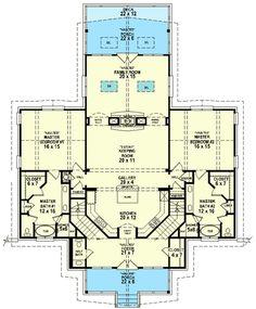 2 Master Suite House Plans New Dual Master Suites Sv House Plans One Story, Family House Plans, Ranch House Plans, New House Plans, Dream House Plans, Story House, Small House Plans, House Floor Plans, Loft Floor Plans