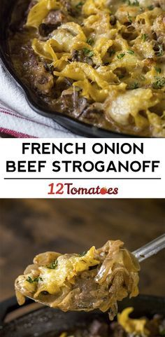 Cheesy French Onion Beef Stroganoff Make flour and Nondairy substitutions. Casserole Dishes, Casserole Recipes, Meat Recipes, Cooking Recipes, Dinner Recipes, Healthy Recipes, Beef Dishes, Pasta Dishes, Al Dente