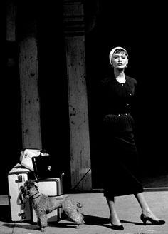 Audrey Hepburn as Sabrina, with 'David' at the Glen Cove Station.