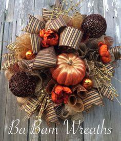 Fall Wreath Autumn Wreath Rustic Fall Wreath by BaBamWreaths