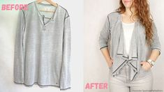 how to make sweater smaller Sweatshirt Makeover, Waterfall Cardigan, Refashion, Thrifting, Tunic Tops, Change, Couture, Diy, Sewing