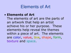 Elements Of Art | Elements of Art Power Point