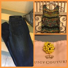 Outfit ideas Juicy Courure Jeans and tribal top Juicy Couture Jeans Skinny