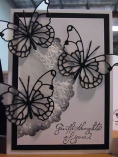 Card posted by Stampers Den (unable to attribute artist or date) [Memory Box Darla Butterfly, Vivienne Butterfly] - Simple DIY Crafts Memory Box Cards, Memory Box Dies, Paper Butterflies, Butterfly Cards, Butterfly Frame, Acetate Cards, Beautiful Handmade Cards, Paper Cards, Diy Paper