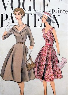 1950s BEAUTIFUL Wrap Dress Pattern VOGUE 9537 Cocktail Party or Day Two Figure Flattering Styles Bust 36 Simple To Make Vintage Sewing Pattern FACTORY FOLDED