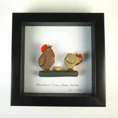 Sweet and sour port shadow box Pebble Art by qvistdesign Stone Pictures Pebble Art, Pebble Stone, Stone Art, Chicken Painting, Chicken Art, Stone Crafts, Rock Crafts, Chickens And Roosters, Sea Glass Art