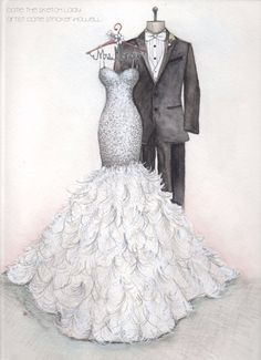 I love sketching dresses that are different!  I had feathers in my wedding and this wedding gown with a feather skirt was fun to draw. Sketch by Catie Stricker-Howell