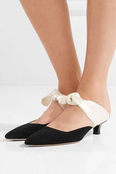 THE ROW Coco stunning suede and satin mules