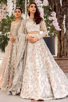 Ivory wedding dress with hand embellished lengha with pastel thread work and zardozi. Motif embellishment on blouse heavier at cuff with det. Desi Wedding Dresses, Pakistani Wedding Outfits, Indian Bridal Outfits, Pakistani Bridal Dresses, Lehenga Wedding, Pakistani Lehenga, Anarkali, Indian Bridal Lehenga, Designer Dresses For Wedding