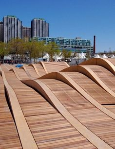 Toronto's unique architectural marvel, the Simcoe Wave Decks designed by West8 & DTAH, put the fun back into the waterfront! #torontolife #architecture