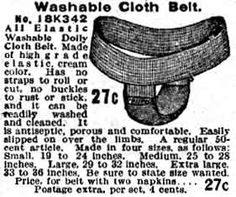Sanitary napkin belts and pads from the 1902 and 1908 Sears, Roebuck catalogs at MUM Mama Cloth, Sanitary Napkin, Vintage Underwear, Menstrual Pads, Cloth Belt, Feminine Hygiene, Cloth Pads, Girl Guides, Cloth Diapers