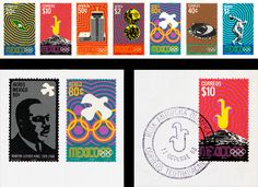 Mexico 68 clearly identifies the country, the year and the event. The distinct geometric forms suggest early Mexican cultures and Mexican folk-art, and the final design references 1960′s op art.  Graphic Design: Lance Wyman  Graphic Design