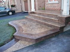 58 Ideas Cement Patio Steps Stamped Concrete For 2019 Concrete Patios, Concrete Front Steps, Stamped Concrete Driveway, Concrete Patio Designs, Concrete Porch, Cement Patio, Front Stairs, Front Walkway, Brick Walkway