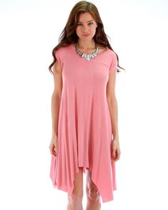 PINK LYSS LOO RAW EDGE OVERSIZED T-SHIRT DRESS