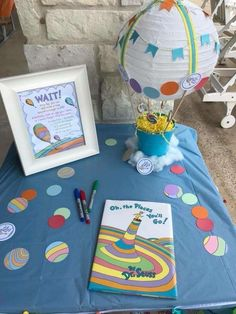 Sherry R's Birthday / Oh the Places You'll Go - Photo Gallery at Catch My Party Boys First Birthday Party Ideas, Dr Seuss Birthday Party, Baby Boy 1st Birthday, Boy Birthday Parties, Dr Seuss Graduation Party, Kindergarten Graduation, Gold Birthday, Birthday Cake, Dr Seuss Party Ideas