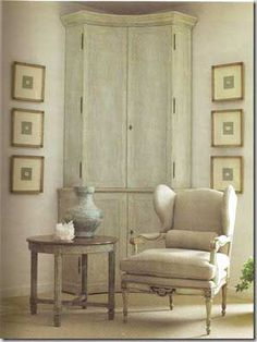 So Swedish! Get this look with our Maison Intaglios, Corner cabinet, and bergeres!