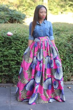 Edaowo-Fashion Blog: Denim shirt & African print maxi skirt
