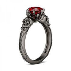 Two-skull Milgrain Round Cut Ruby Rhodium Plating Sterling Silver Skull Ring