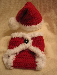 Crochet Christmas Baby Santa Hat and Diaper Cover set - Photo Prop - made to order. $27.00, via Etsy.