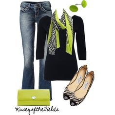 """""""Zebra"""" by kaseyofthefields on Polyvore - cute outfit with lime scarf and clutch. by ja5hu8"""