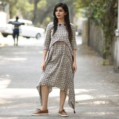 14fc55fcfb Buy Rustorange Gray Cotton Printed Trail Cut Kurti online in India at best  price.This grey dabu dress with asymmetric layering and hem will keep you  upto ...