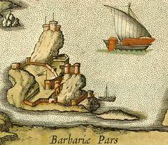 Spanish fortress (El Peñón de Argel) before dismantlement by Barbarossa. 16th century