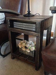 Reclaimed wood industrial rustic end table (dark walnut stain)