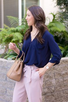 Two work outfits for early spring   Lavender pants   Blush pink high-waisted pants   Floral embroidered columnist black pants   Express petite fashion review   Petite style blog   Lush tunic blouse navy pink   Ann Taylor block sandals   Ivory heels   Springtime Summer outfit inspiration   rose gold bracelets accessories