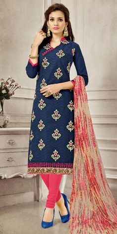 Terrified Blue Cotton Straight Suit With Dupatta.