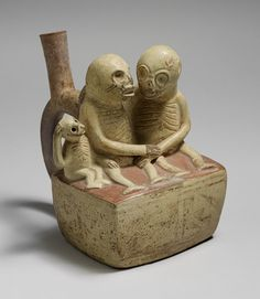 Bottle, Skeletal Couple with Child, 3rd–7th century  Peru, Moche  Ceramic