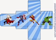Cajas para Fiestas de los Vengadores para Imprimir Gratis.                                                                                                                                                     Más