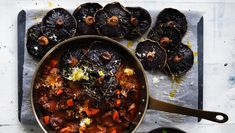 Neil Perry's braised lamb shoulder with thyme-roasted mushrooms
