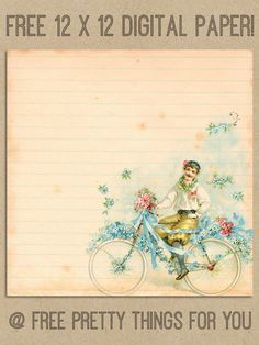 Scrapbook: Romantic Vintage Bicycle Digital Paper - Free Pretty Things For You