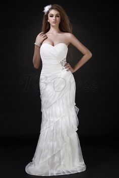 Fantastic Sweetheart A-Line Tiered Brush Train Roxy's Wedding Dress