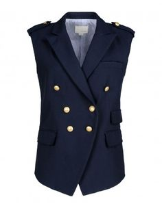 Band Of Outsiders Navy Raw Edge Double-Breasted Vest