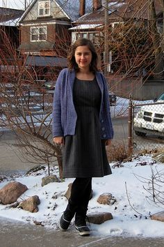dress from Japanese pattern + Dark and Stormy (Thea Colman) knit by Natalie Selles = a feel good couple to wear everywhere
