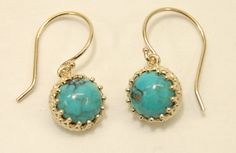 14ky 8mm Genuine Cabochon Turquoise Gallery Bezel by SJJewelers