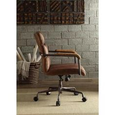 Acme Furniture Harith Retro Brown Top Grain Leather Office Chair 92414 - The Home Depot Executive Office Chairs, Swivel Office Chair, Home Office Chairs, Vintage Office Chair, Retro Office, Office Setup, Bedroom Office, Office Ideas, Patio Chair Cushions