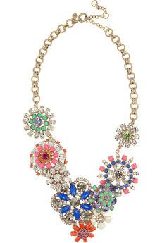 Flower Lattice crystal and bead necklace by J.Crew