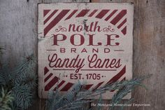 North Pole CANDY CANES sign Rustic by TheMontanaHomestead on Etsy