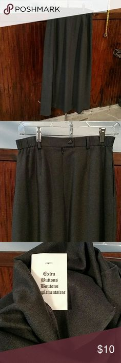 """Nwot* Ladies Orvis polyester long skirt Nice ladies Nwot Orvis long skirt 100% polyester Grey in color Elastic waist band Button closure and zip up back , has belt loops And front pockets Length 36.5"""" Size 6 Orvis Skirts"""