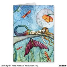 Down by the Pond Mermaid Art Greeting Card http://www.zazzle.com/down_by_the_pond_mermaid_art_greeting_card-137404653547650888?design.areas=%5Bcard_5x7_outside_print_front%5D&rf=238588924226571373