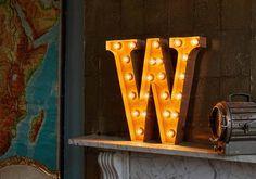 Letter Light W   Vintage Letter Lights UK   Alphabet Light Up Letters