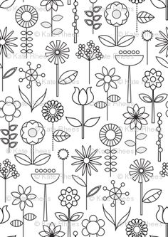 Mod Doodle Blooms custom fabric by katerhees for sale on Spoonflower Doodle Drawings, Doodle Art, Doodle Ideas, Drawing Sketches, Doodle Lettering, Hand Lettering, Hand Embroidery Patterns, Embroidery Stitches, Mundo Hippie