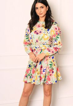 NEON ROSE Bright Floral Long Sleeve Belted Skater Mini Dress in Multi– One Nation Clothing Mini Skater Dress, Skater Style, Summer Events, Business Fashion, Floral Prints, Neon, Bright, Rose, Long Sleeve